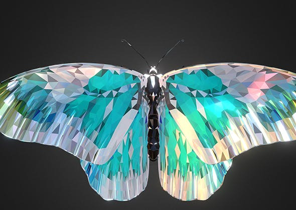 Batterfly Teal Low Polygon Art Insect - 3DOcean Item for Sale
