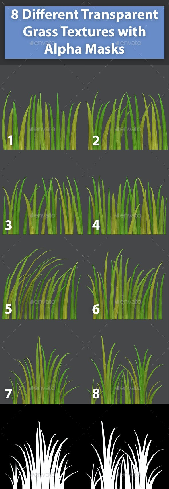 8 Different Transparent Grass Textures - 3DOcean Item for Sale