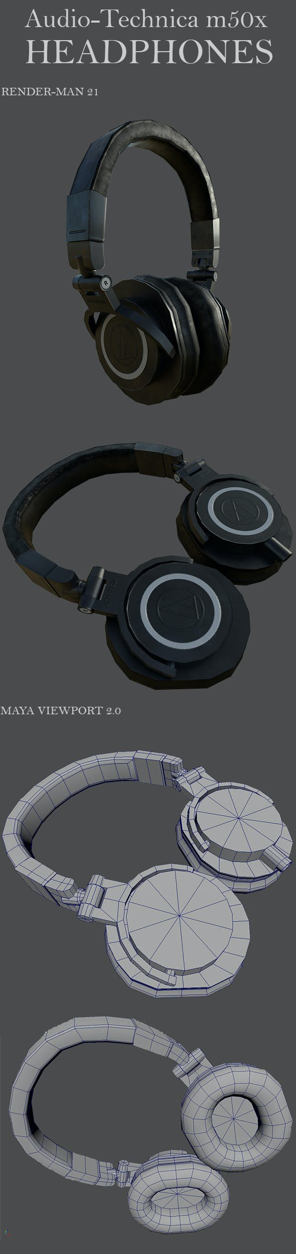 Headphone Audio Tecnica M50x - 3DOcean Item for Sale