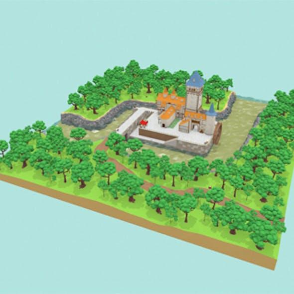 Medieval Castle Low-poly 3D model