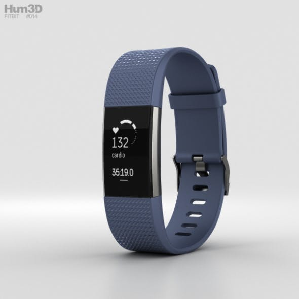Fitbit Charge 2 Blue - 3DOcean Item for Sale
