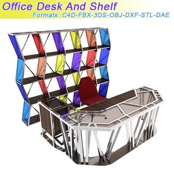 Office Desk And Shelf - 3DOcean Item for Sale