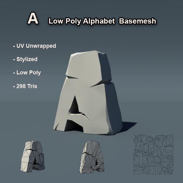 A Alphabet Low Poly Basemesh