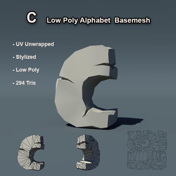 C Alphabet Low Poly Basemesh