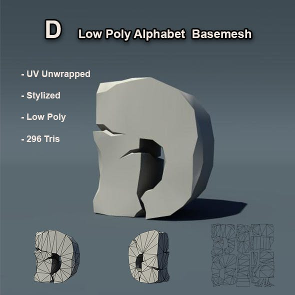 D Alphabet Low Poly Basemesh