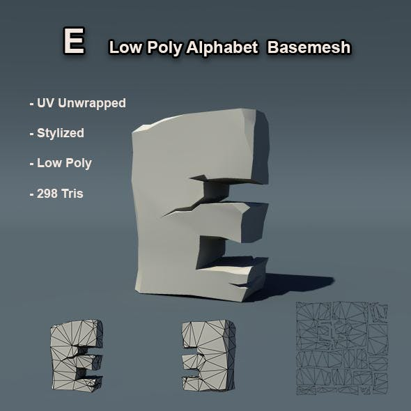 E Alphabet Low Poly Basemesh