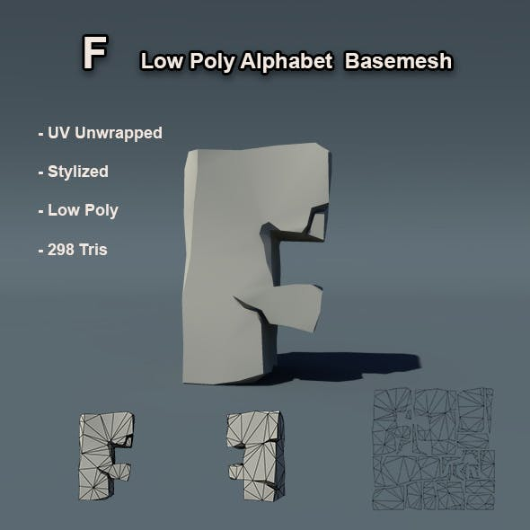 F Alphabet Low Poly Basemesh