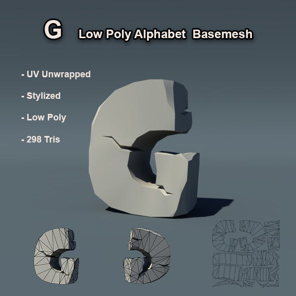G Alphabet Low Poly Basemesh
