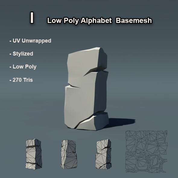 I Alphabet Low Poly Basemesh