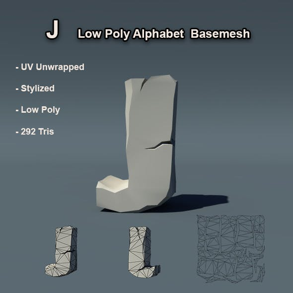 J Alphabet Low Poly Basemesh