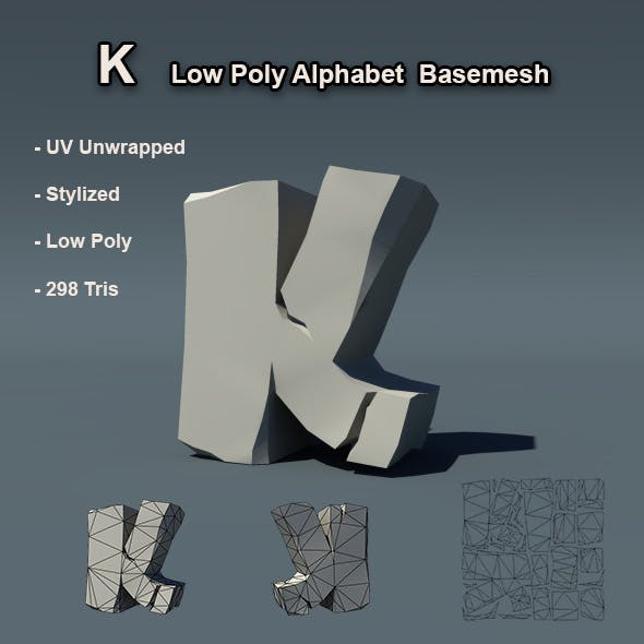 K Alphabet Low Poly Basemesh