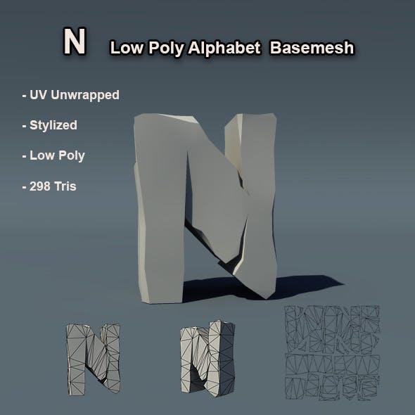 Alphabet N Low Poly Basemesh - 3DOcean Item for Sale