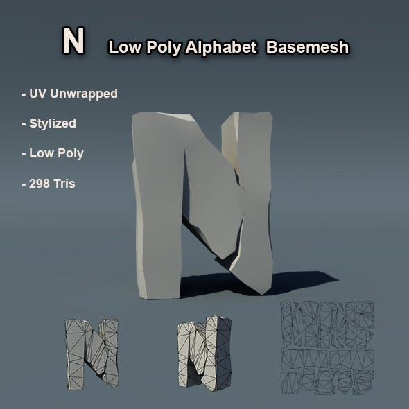 Alphabet N Low Poly Basemesh