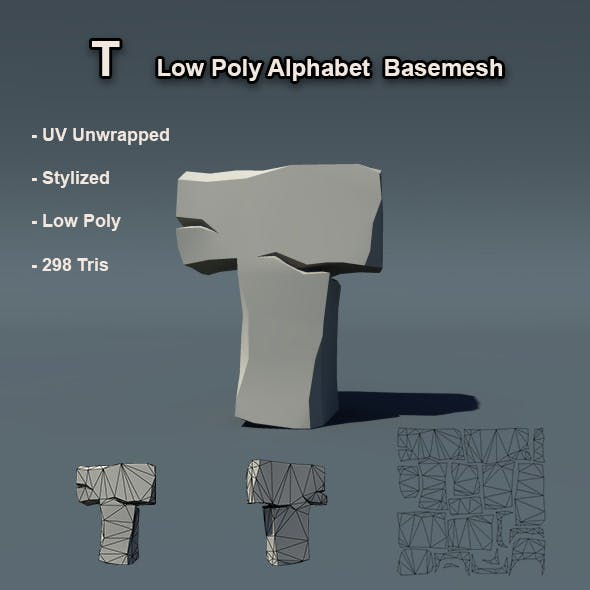 Alphabet T Low Poly Basemesh