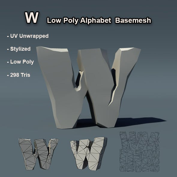 Alphabet W Low Poly Basemesh