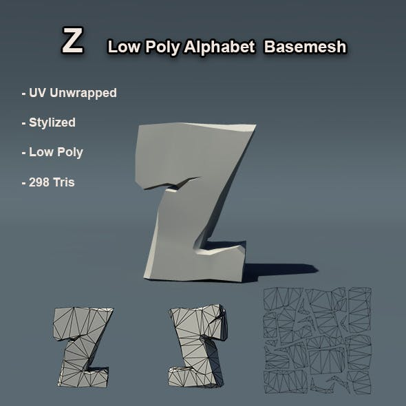 Alphabet Z Low Poly Basemesh