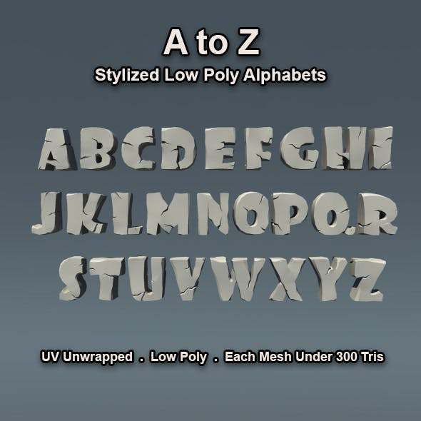 A to Z Low Poly English Alphabets - 3DOcean Item for Sale