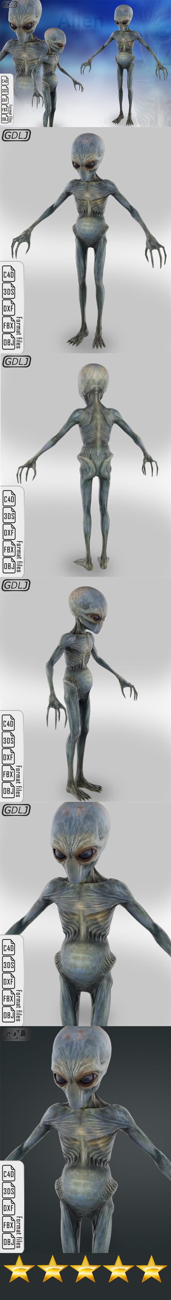 Alien 3D Character [ High poly and Low poly ] - 3DOcean Item for Sale