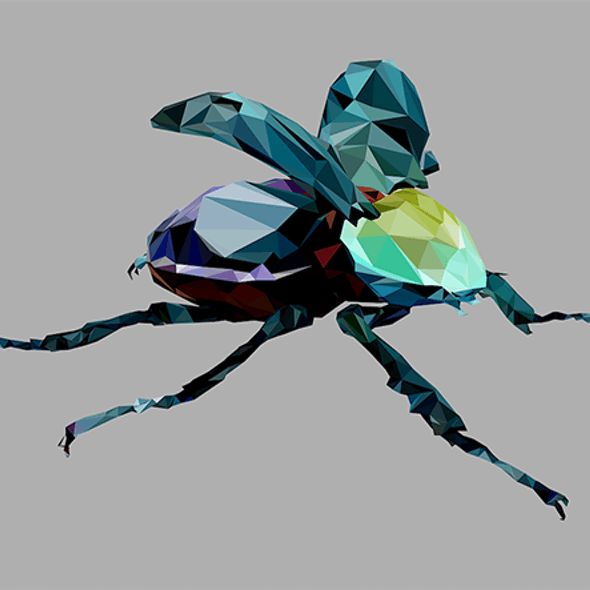 Low Poly ARt Giant Beetle Insect