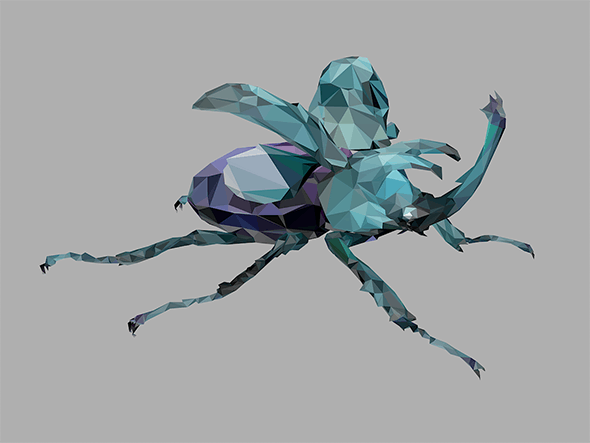 low poly art white Giant Beetle insect - 3DOcean Item for Sale