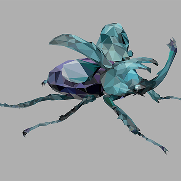 low poly art white Giant Beetle insect