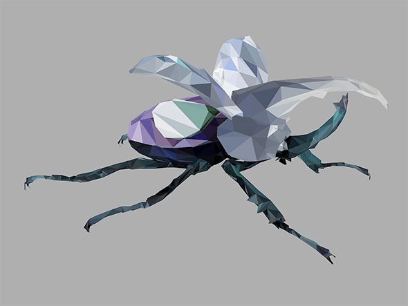 Low Poly Art Giant Beetle Insect  Violet - 3DOcean Item for Sale