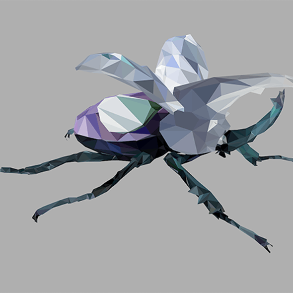 Low Poly Art Giant Beetle Insect  Violet
