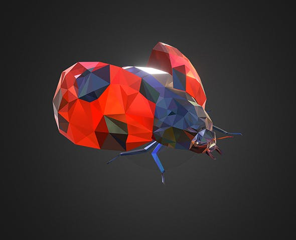 Bug Ladybug Red Low Polygon Art Insect - 3DOcean Item for Sale