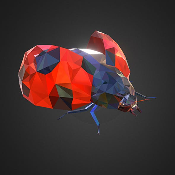 Bug Ladybug Red Low Polygon Art Insect