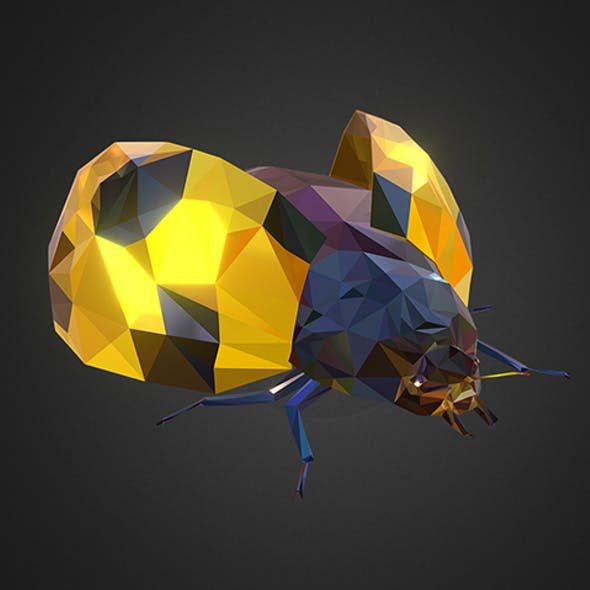 Bug Ladybug Yellow Low Polygon Art Insect