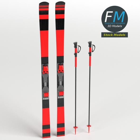 Alpine skis with poles - 3DOcean Item for Sale