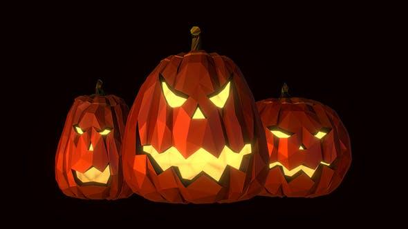 Halloween Pumpkin Jack Evil Gourd Low Poly Art - 3DOcean Item for Sale