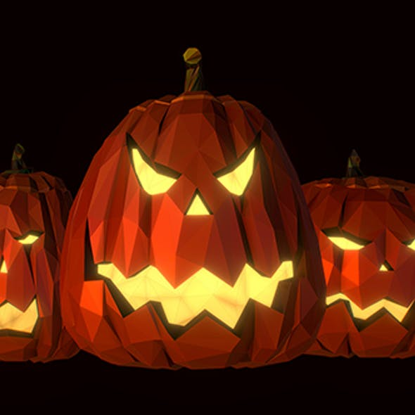 Halloween Pumpkin Jack Evil Gourd Low Poly Art