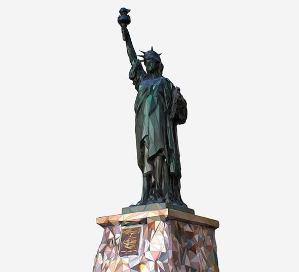 Low Polygon Pop Art Style Liberty Statue Monument - 3DOcean Item for Sale