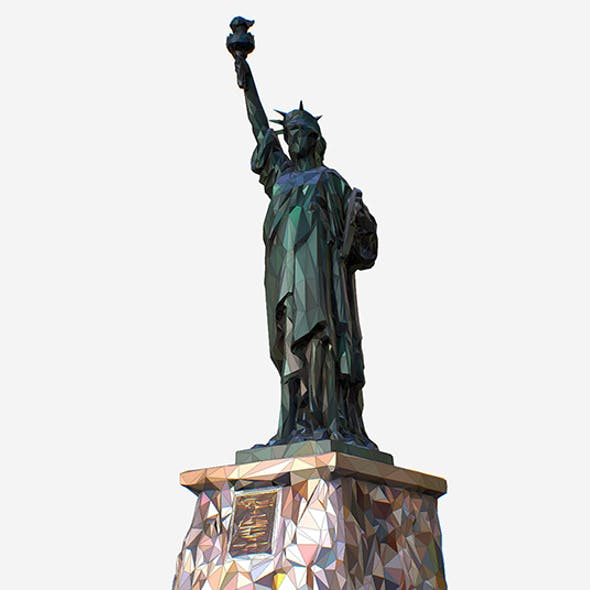 Low Polygon Pop Art Style Liberty Statue Monument
