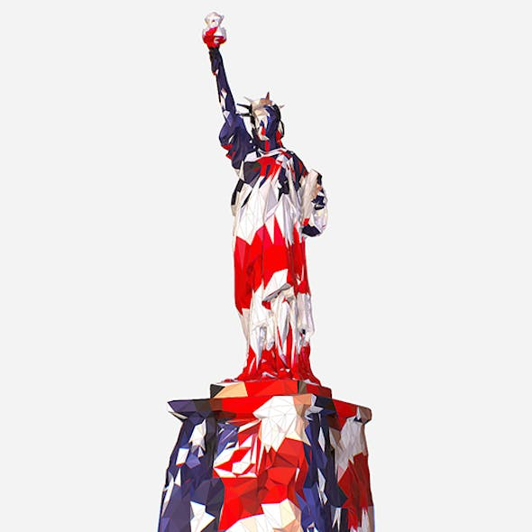 Low Polygon Art USA color Liberty Statue
