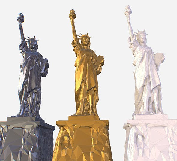 Low Poly Art Statue of Liberty Material - 3DOcean Item for Sale