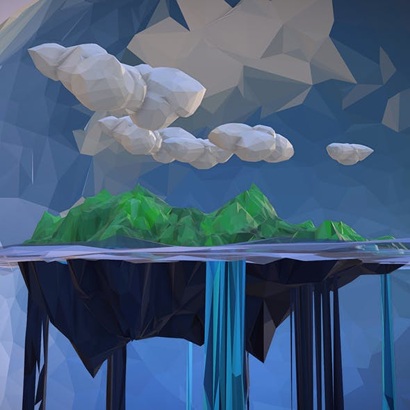 Low Polygon Art Green Waterfall Island Mountain