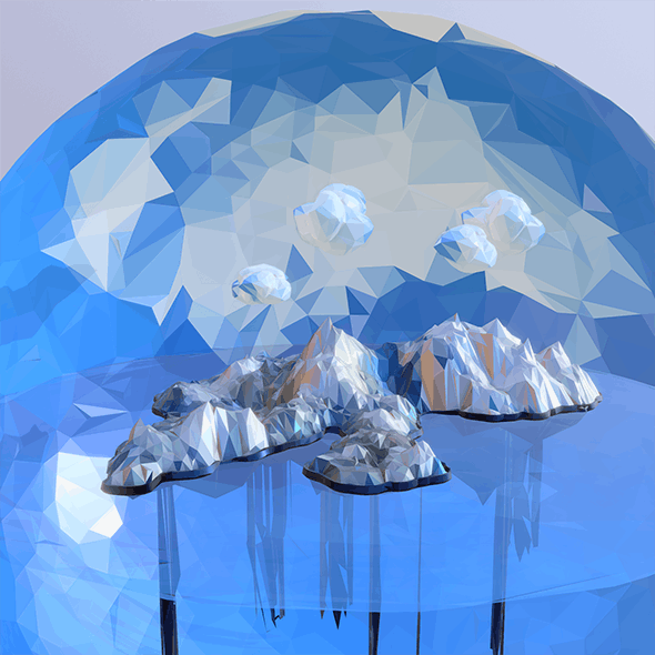 Low Polygon Art Snow Island Mountain Waterfall