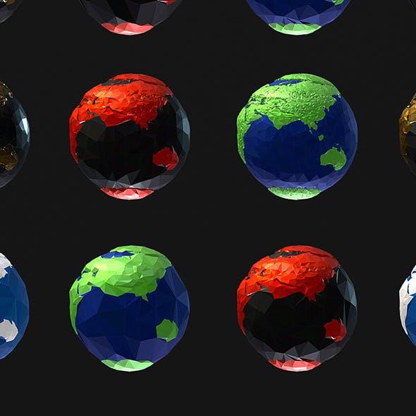 16 Animated Low Polygon Art Planets Earths - 3DOcean Item for Sale