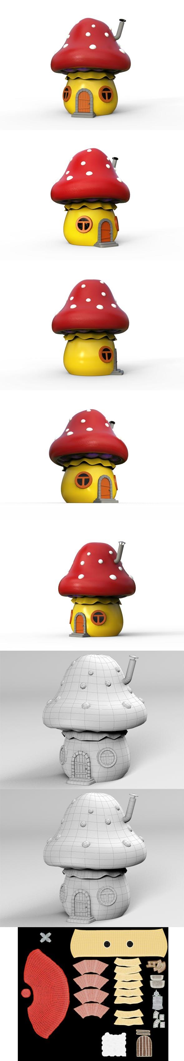 Cartoon house mushroom - 3DOcean Item for Sale