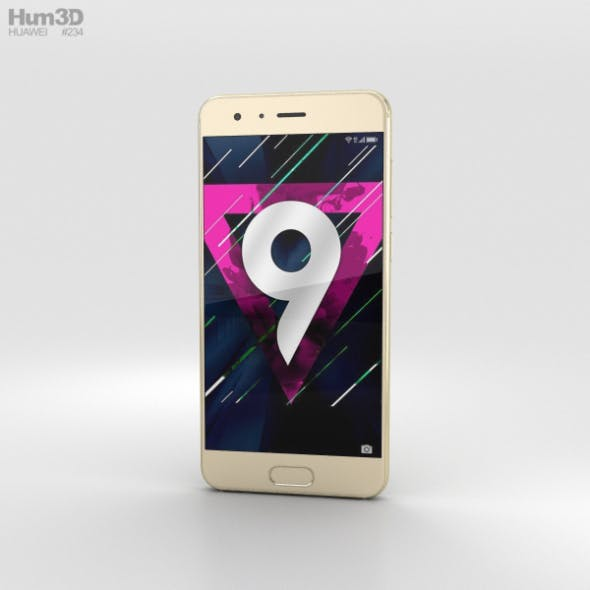 Huawei Honor 9 Gold - 3DOcean Item for Sale