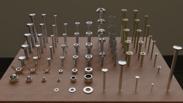 Set of 73 Bolts, Nuts, Washers, Nails, Sleeves, Butterflies - 3DOcean Item for Sale