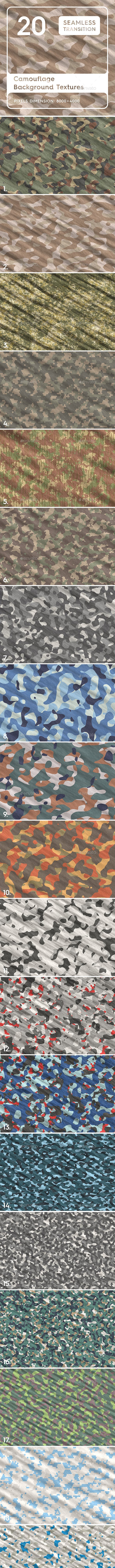 20 Camouflage Backgrounds Textures - 3DOcean Item for Sale