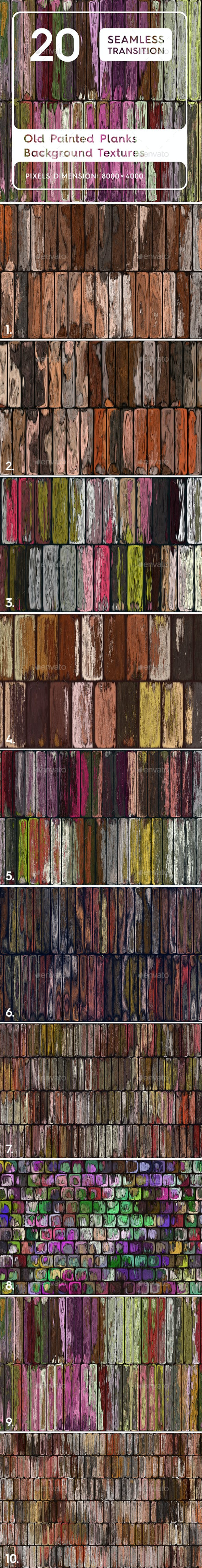 10 Old Painted Planks Background Textures - 3DOcean Item for Sale