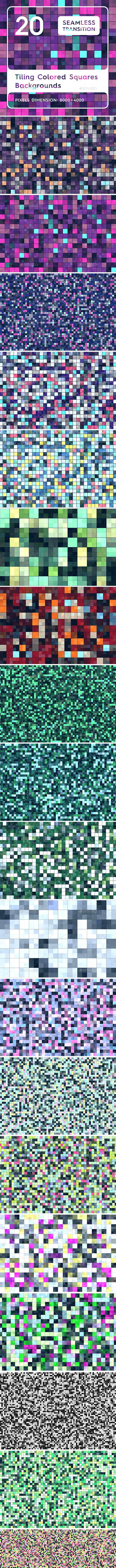 20 Tiling Colored Square Backgrounds - 3DOcean Item for Sale