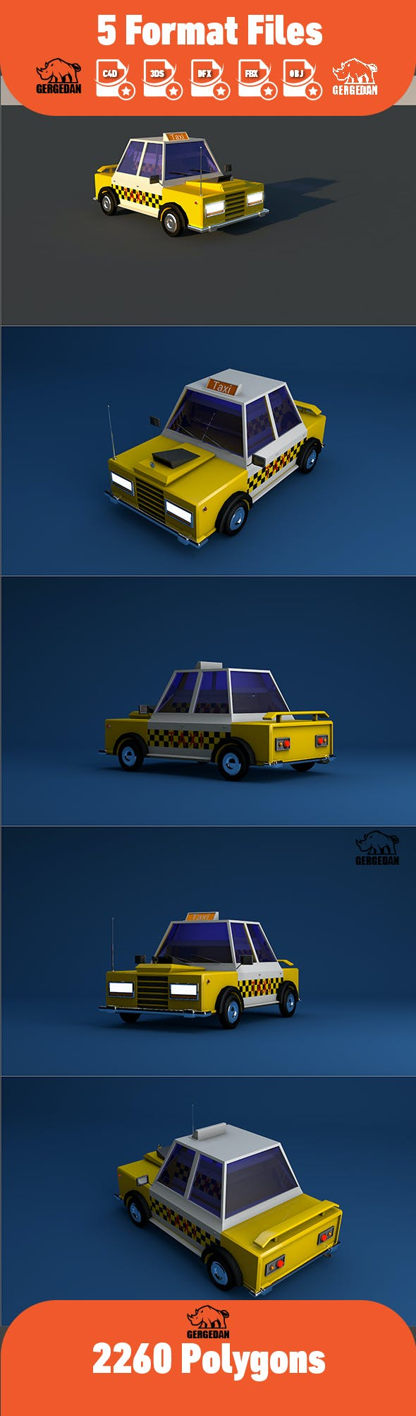 Low Poly Taxi - 3DOcean Item for Sale