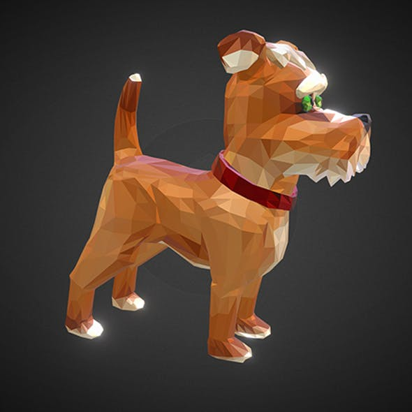 Dog 1 Low Polygon Art Farm Animal