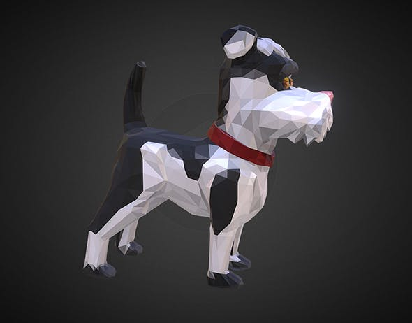 Dog 2 Low Polygon Art Farm Animal - 3DOcean Item for Sale