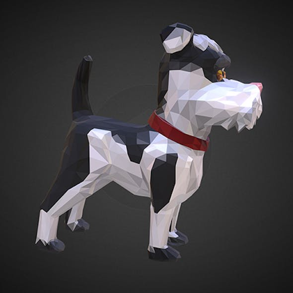 Dog 2 Low Polygon Art Farm Animal